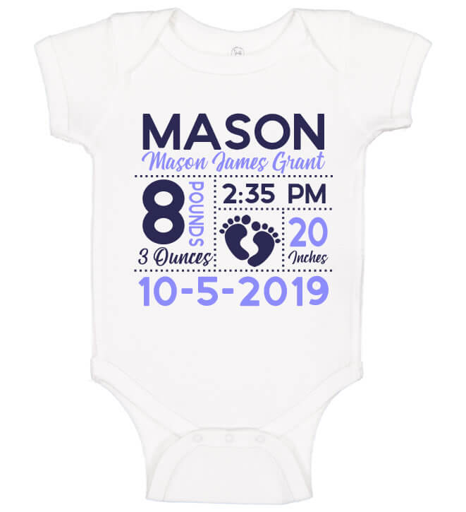 Birth Announcement Onesie Footprint Personalized Babies