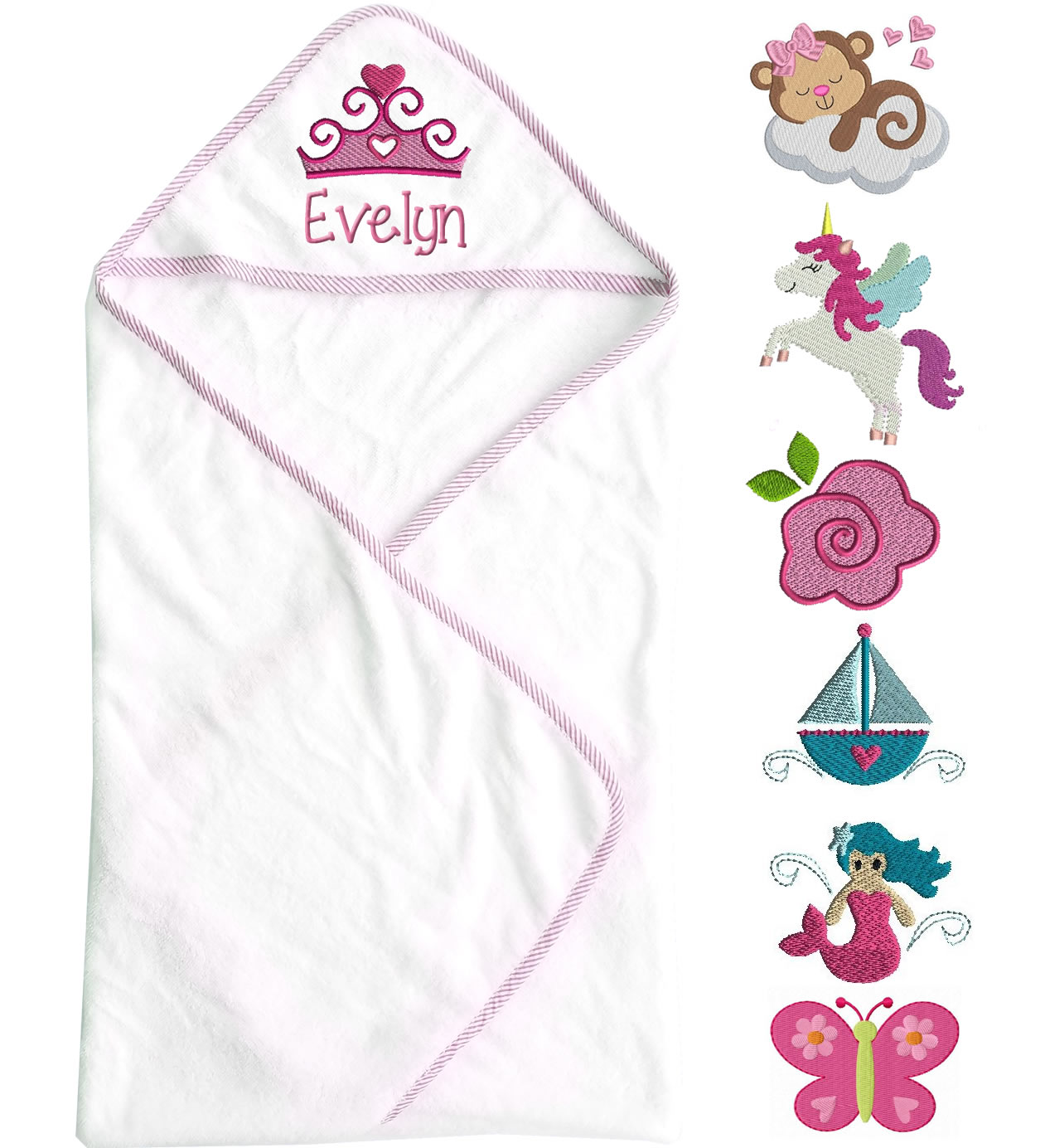 Hooded Baby Girl Towel With Name Amp Design Personalized